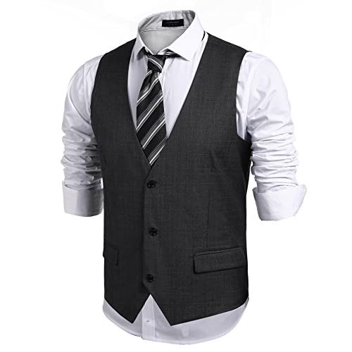 JINIDU Mens Waistcoat Casual Slim Fit Formal Waistcoat Vest with Pocket for Wedding/Business/Party