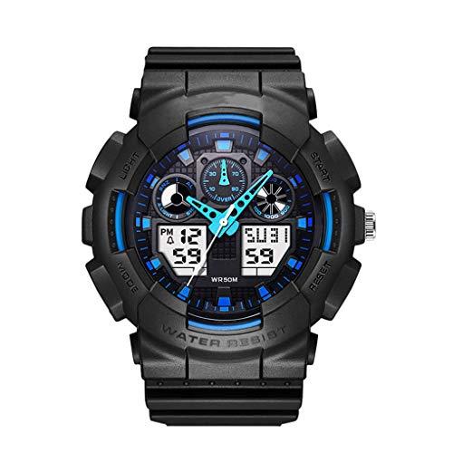 Yihaifu Hombres Relojes Deportivos Doble Pantalla del Reloj analógico Digital Boy Cuarzo Relojes de Pulsera electrónica de LED a Prueba de Agua Natación Boy Watch