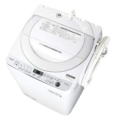 シャープ SHARP 全自動洗濯機 幅56.5cm(ボディ幅52.0cm) 7kg ステンレス穴なし槽 ホワイト系 ES-GE7E-W