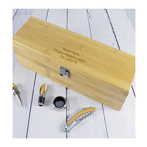 Calledelregalo Regalo Personalizado: Caja Sumiller con Todos los Accesorios necesarios para degustar un Buen Vino