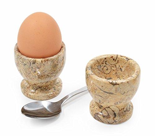 Set von 2 Marmor Eierbecher, handgeschnitzt, Fossilstone