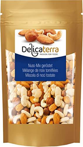 Delicaterra Nuss-Mix 1kg - gerösteten Nussmischung aus Cashewkernen, Mandeln und Haselnüssen - Nusskernmischung Knabberspaß in wiederverschließbaren Standbeutel - Snack - Knabberei - Vorteilspack