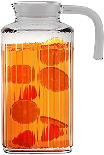Fridge Pitcher – 62.5 oz. Glass Water Fridge Pitcher with Lid By Home Essentials & Beyond Practical and Easy to use Fridge Pitcher Great for Lemonade, Iced Tea, Milk, Cocktails and more Beverages.