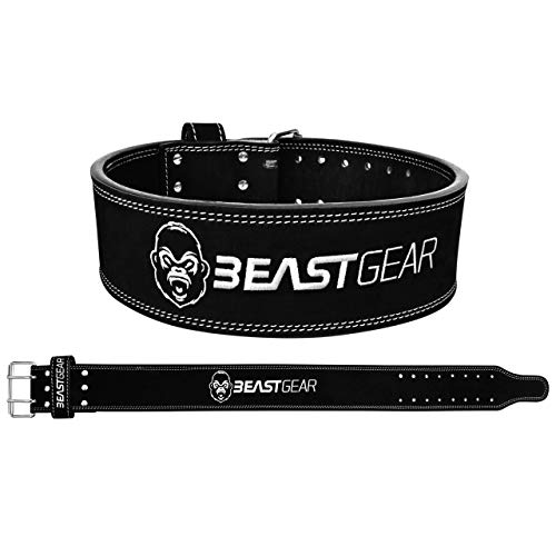 Beast Gear Cinturón Halterofilia – Cinturón Lumbar Powerlifting con Doble Hebilla – Cinturón Levantamiento de Peso de Piel Nobuck – 10 cm de Ancho y 10 mm de Grosor - L