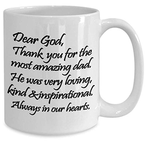 N\A Regalo del Padre fallecido. Taza de oración, Gracias a Dios, Ideas de Regalos para Recordar a papá Hermana o Hermano, Hijo o Hija