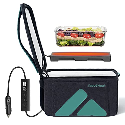 SabotHeat Smart Portable Car Oven -12V 90W Hot Plate with 6 Adjustable Heat Levels & Timer, Portable Lunch Warmer for Reheating & Cooking, Fast Heating Food Warmer Lunch Box for Trip, Outdoor Work