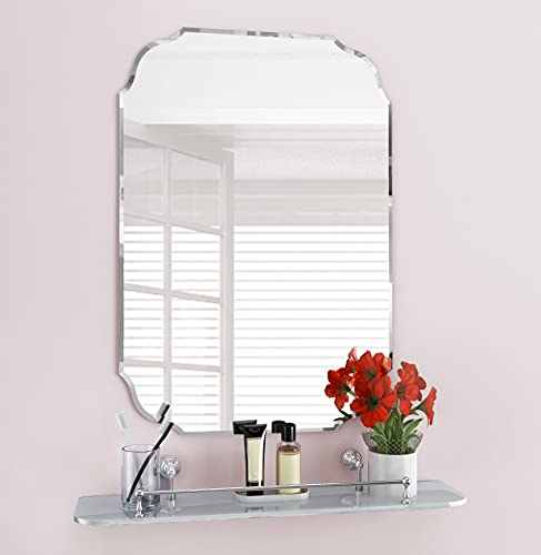 "KOHROS Rectangle Beveled Polished Frameless Wall Mirror for Bathroom, Vanity, Bedroom, Slive Mirror (W 18"" x H 24"" Scalloped)"