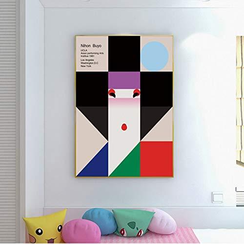 Cartoon Kunst Frau Poster Porträt Leinwand Malerei Wohnzimmer Hauptdekoration Wandkunst rahmenlose Malerei 40cmx60cm