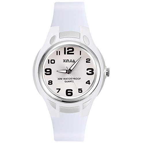 Relojes Analógicos para Niños, Niñas Impermeable Fácil de Leer Relojes de Pulsera con Correa Suave para Niñas (Blanco)