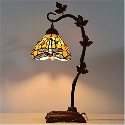 Tiffany Style Mese Lámpara de mesa, base de resina de lámpara de cristal de 8 pulgadas, luz de la noche de protección ocular, lámpara de noche, lámpara de lectura del escritorio, usado en sala de esta