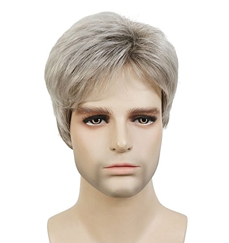 Lydell Men Wig Natural Short Straight Hair Synthetic Full Wigs (48T Light Gray with Dark Root)