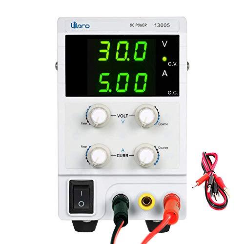 iiBro Fuente de alimentacion regulable CC 0-30V 0-5A Ajustable Transformador, Suministro eléctrico de laboratorio, reparación general EU Plug