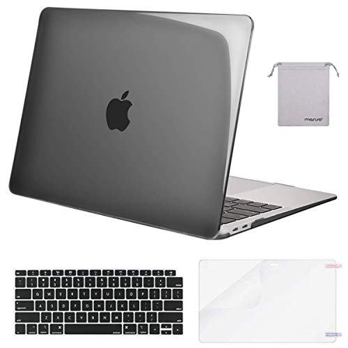 MOSISO MacBook Air 13 inch Case 2020 2019 2018 Release A2337 M1 A2179 A1932, Plastic Hard Shell&Keyboard Cover&Screen Protector&Storage Bag Compatible with MacBook Air 13 inch Retina, Crystal Black