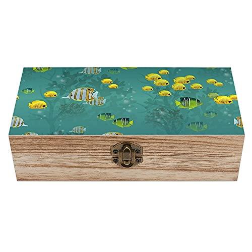 Caja de madera decorativa de peces y corales, caja de regalo para el hogar, caja de regalo, caja de té de almacenamiento de 19 x 9 x 5.8 cm