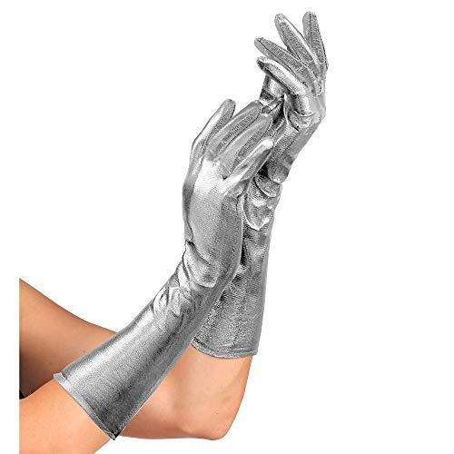 Widmann 34241 - Handschuhe Showtime, 40 cm lang, für Damen, glänzend, silber, Kostüm, Karneval, Fasching, Mottoparty, Silvester