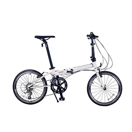 YANXIH Bicicleta Plegable para Adultos Blanco/Negro, Marco De Acero Al Cromo-molibdeno De 20'Pulgadas, 18 Velocidades Bicicleta Plegable De Carretera De Larga Distancia para Hombres Y Muj(Color:UN)