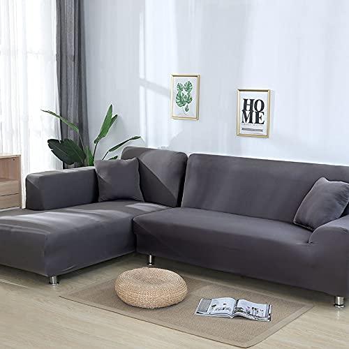 WXQY Toalla de sofá de Sala de Estar Funda de sofá Antideslizante de Color sólido Esquina elástica en Forma de L Funda de sofá Todo Incluido A10 3 plazas