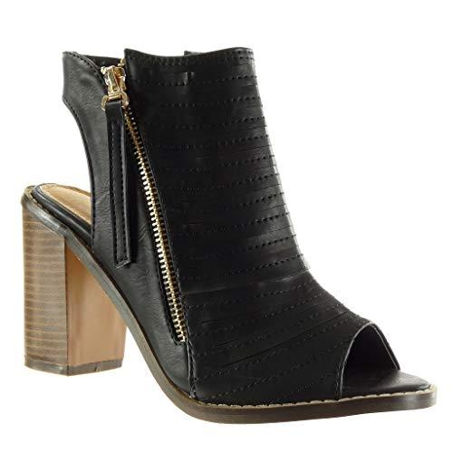 Angkorly Damen Schuhe Sandalen Stiefeletten Peep-Toe Offen Low Boots Multi-Zaum Fertig Steppnähte Reißverschluss Blockabsatz high Heel 9.5 cm Schwarz 12 M107 T 38