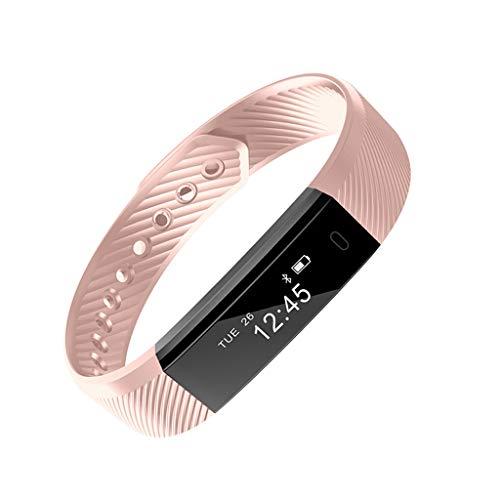 Monitores de actividad Fitness Tracker Bluetooth Watch USB Activity Tracker con detección de frecuencia cardíaca, Pedómetro Calorie Sleep Monitor, IP67 Contador de pasos impermeables ( Color : Pink )