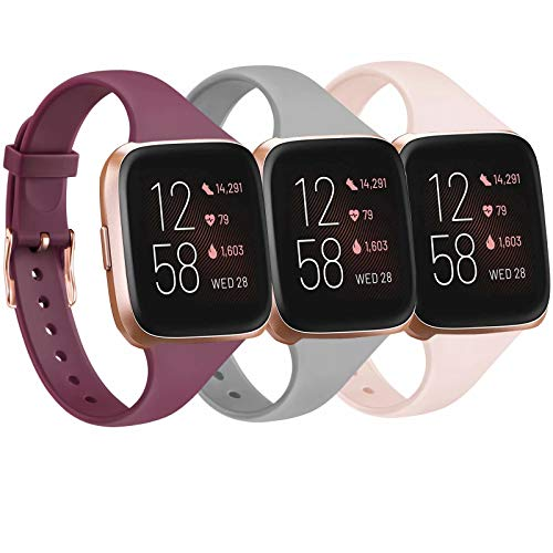 Tobfit Pack 3 Slim Bands Compatible with Fitbit Versa 2 Bands/Fitbit Versa/Fitbit Versa Lite/SE, Silicone Replacement Smartwatch Wristband for Women Men, Large, Wine Red/Gray/Pink Sand