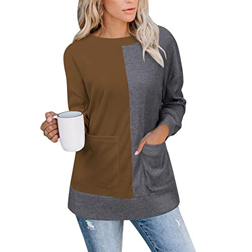 Herbst/Winter Damen Rundhals Kontrastfarbe Big Pocket Langarm Pullover Damen