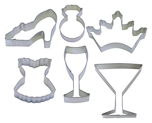 R&M International 1961GK Girl's Night Out Cookie Cutters, Corset, Crown, Wine Glass, High Heel, Diamond Ring, Martini, 6-Piece Set