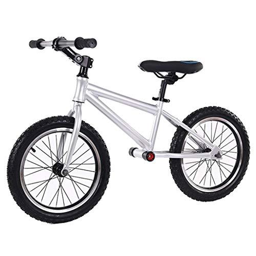 Bicicleta sin pedales Bici Bicicleta de Equilibrio sin Bicicleta para Adultos, Bicicleta de Entrenamiento Liviana Negra con Ruedas de 16 Pulgadas, para más de 10 niños y niñas (Color : Silver)