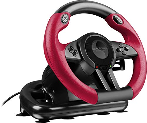 Speedlink TRAILBLAZER Racing Wheel for PS4/Xbox One/PS3/PC - Volant de Gaming (Vibration, 12 Boutons) Noir-Rouge