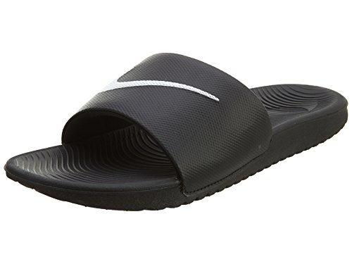 NIKE Kids' Kawa Slide Sandal, Black/White, 5 M US Big Kid