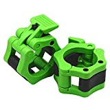 IADUMO Barbell Collars - Locking 2' Olympic Size Weight Bar Clamps - Quick Release Clips - Bar Collar Great for Weight Lifting and Olympic Lifts (Neon-Green)