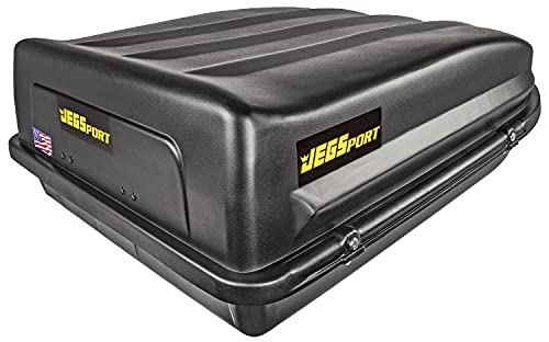 JEGS Rooftop Cargo Carrier   Hard Car Top Large Luggage Box   Waterproof Storage   Heavy Duty Solid Case   Made in USA   18 Cubic Ft.   100 Lb. Capacity   Zero Tool Easy Assembly   Aerodynamic Design