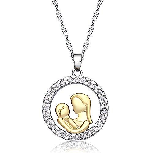fyoriginal Regalo para el Día de la Madre Collar de Mamá, Collar Plata de Ley Colgante para Mujer,con Caja de Regalo de Joyería