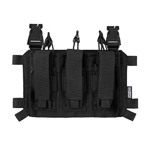 OneTigris Pistol Mag Pouch - Póster táctico 02 pistola, 3 compartimentos para revistas de Chest Rig, soporte triple Kangaroo Pouch   embalaje múltiple (negro)