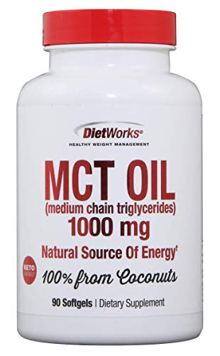 DietWorks Mct Oil Softgels, Fat Burning, Boost Metabolism, Weight Loss, 90 Count