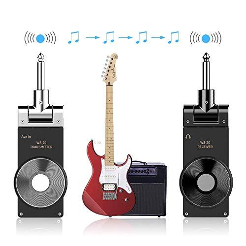 Dr.Taylor Sistema de Guitarra Inalámbrico de 2.4Ghz, Kit de Receptor de Transmisor Recargable USB para Guitarra Eléctrica Bajo Ukelele, Rango de Transmisión de 30 M,Silver