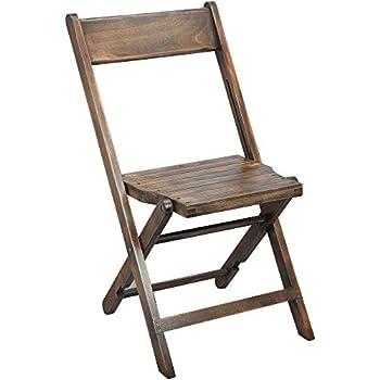 EMMA + OLIVER 2-Pack Slatted Wood Antique Black Folding Wedding Chair