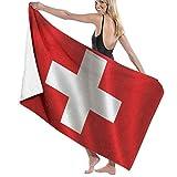 N/A Badetücher,Handtücher,Reisehandtuch,Saunatuch,Schweiz Flagge Serie Flaggen Welt Countryswiss Zeichen Symbole Weiches Strandtuch Für Reisen Schwimmen Yoga Camping 80X130Cm