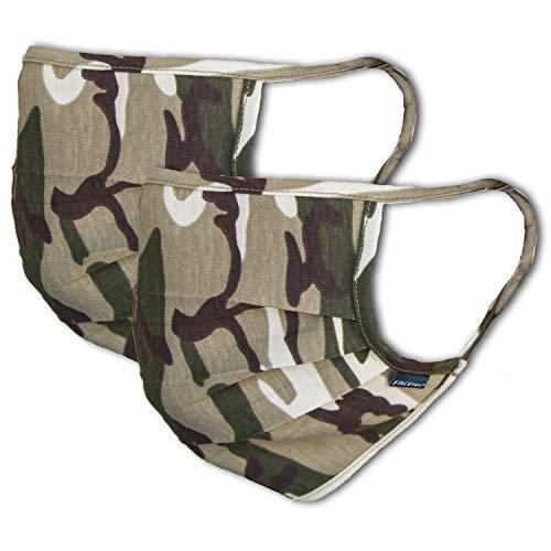 2er-Pack Mundschutz Maske 100% Baumwolle | waschbar bis 90°C, bügelbar, OEKO-TEX 100 Standard | Einheitsgröße für Erwachsene | wiederverwendbare Behelfs-Maske, Mund und Naseschutz, camouflage khaki