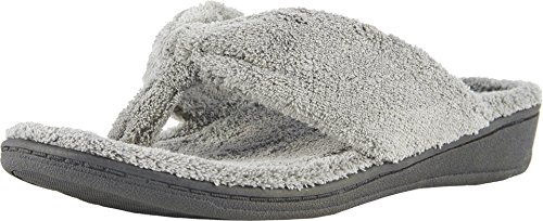Vionic Women's Indulge Gracie Slipper - Comfortable Toe-Post Thong Spa House Slippers that include Three-Zone Comfort with Orthotic Insole Arch Support, Soft House Shoes for Ladies Light Grey 8 Medium US