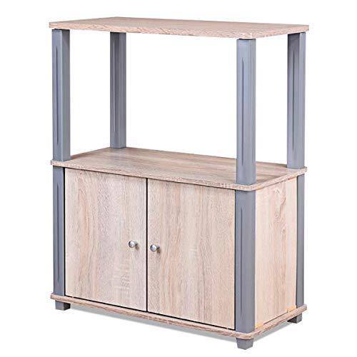 Giantex Fernsehtisch, TV Schrank Regal Tisch, Fernsehschrank TV Board für Fernseh Holz, ideal für Wohnzimmer Schlafzimmer Büro (Hellbraun)