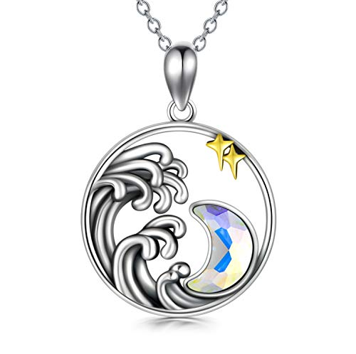 Silver Moon Necklace, Star Necklace with Crystal,'Galaxy Dreaming' Galaxy Pendant with Crystal Aurora Borealis Crescent Moon Pendant Gift for Mom Girlfriend, Christmas Mother's Day