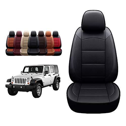 Oasis Auto 2007-2017 Wrangler JK Custom Leather Seat Covers (2007-2010 Wrangler 4-Door, Black)