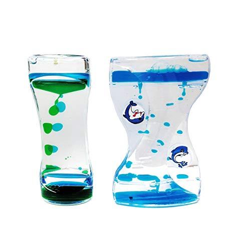Relaxation Liquid Motion Bubbler Paperweight Novelty Games- Fidget Toys (2PCS, Blue Green/Blue)