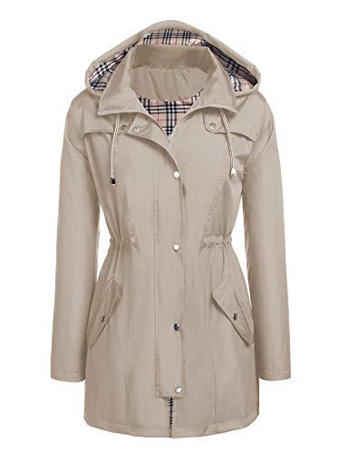 Kikibell Women Raincoat Windbreaker Raincoats for Women Trench Coats Sports Jackets Travel Jackets Black Raincoats Coats Hooded Windbreaker Khaki