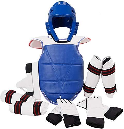 JXS Traje de Taekwondo de Corea del Protector de Engranaje, Protector del pie, antebrazo Protectores, Peto Reversible Cuerpo de Taekwondo Sanda Boxeo,Men,150~160cm