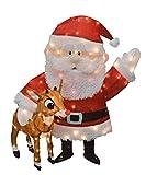 "Rudolph & Santa 36"" 3-D Tinsel Outdoor Christmas Decoration Yard Art | Heathbarpoi"
