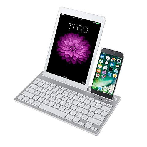 SKYAE Teclado Bluetooth, Teclado Recargable de Bluetooth inalámbrico múltiple del Dispositivo múltiple de Doble Canal con Soporte Robusto para Tablet Smartphone PC Windows White