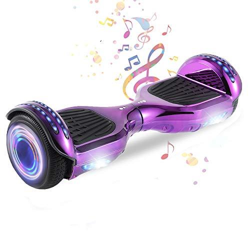 HappyBoard 6.5'' Hoverboard Patinetes de Acrobacias Patinete Eléctrico Bluetooth Monopatín Scooter Autobalanceado, Ruedas de Skate con luz LED, Motor Bluetooth de 700W