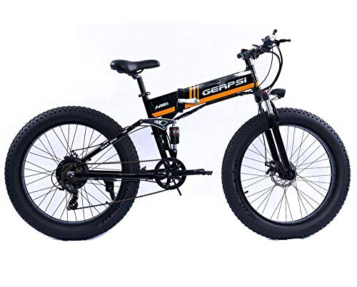 LQRYJDZ Electric Bicycle Folding Electric Mountain Bike 4.0 Fat Tire Electric Bike 48V Mens Mountain Bike Snow E-Bike 26inch Bicycle (Color : Yellow)