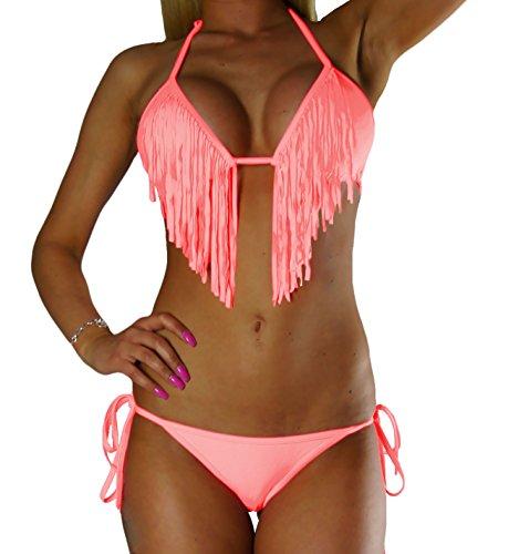 ALZORA Bikini Damen Tassel Fringe Bänder Set Top und Hose, 10195 (M, Lachsfarben)